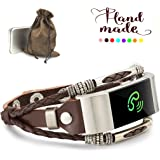 Marval.P Compatible Fitbit Charge 2 Bands, Handmade Leather DIY Band, Replacement Bracelet Strap, Wristbands with Adjustable Size, Fashion Wrist Band Straps