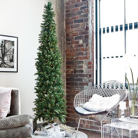 Amazon Com Classic Pine Pre Lit Pencil Christmas Tree Home Kitchen - Pre Lit Pencil Christmas Tree