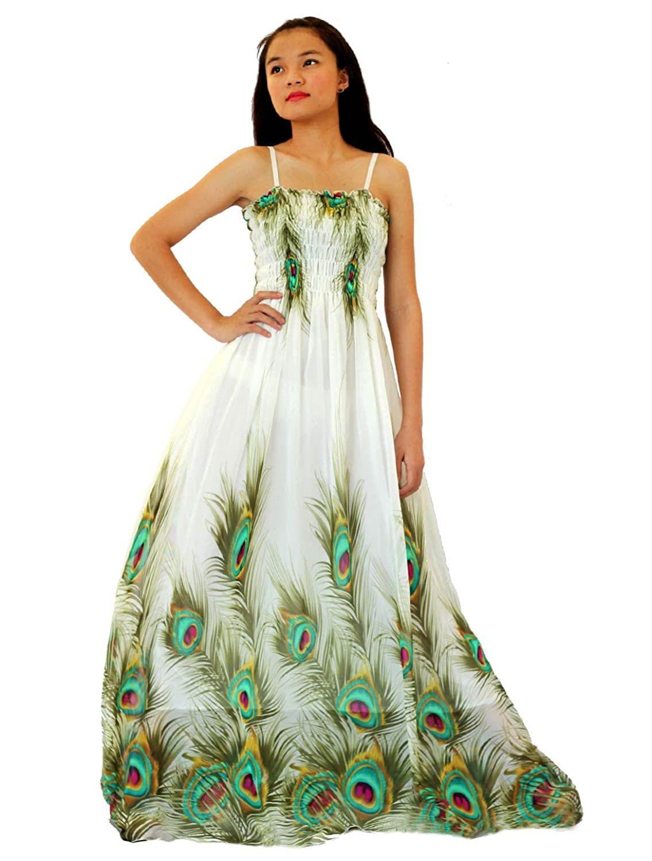 MayriDress Women Peacock Maxi Dress Plus Size Clothing Beach White Wedding Guest At Amazon Womens Store