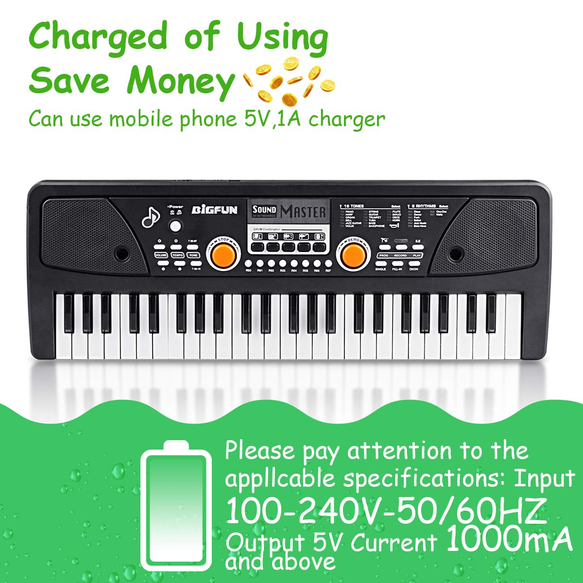 RenFox 49 Key Piano Keyboard Portable Electronic Kids Piano Keyboard Beginner Digital Music Piano Keyboard & Microphone Teaching Toy Gift for Kids Boy Girl by RenFox (Image #2)