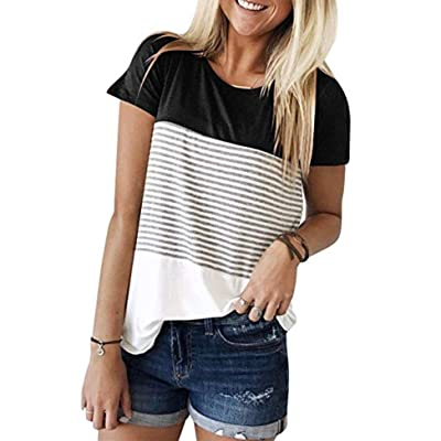 Beyove Womens Casual Triple Color Block Striped T-Shirt Short Sleeve Round Neck T Shirts Blouses Tops: Clothing