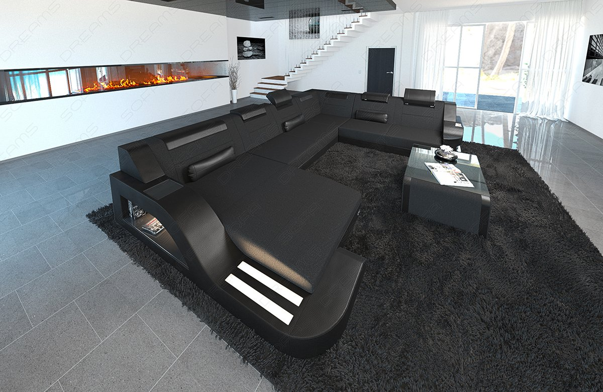 Sofa Dreams Tela de diseño. Salón Paisaje Palermo XXL Negro ...