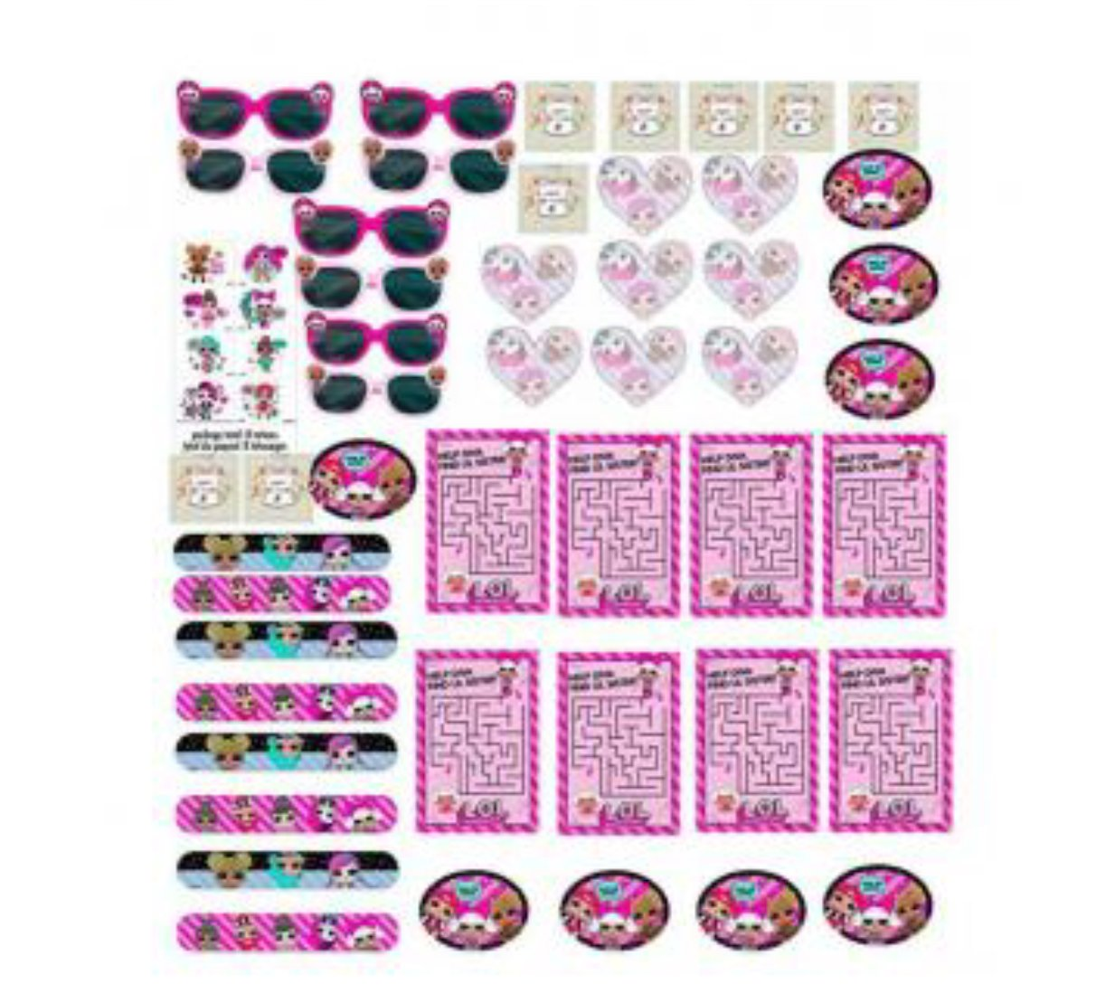 lol Party Supplies Birthday Favor Pack - Variety Assortment Bundle of Activity Sheets, Slap Bracelets, Novelty Glasses, Temporary Tattoos, Stickers, Mini Notepads and Birthday Tattoo's For 8 Guests