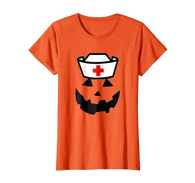 35298513 Womens Nurse Pumpkin funny women's Halloween Saying shirt Small Orange