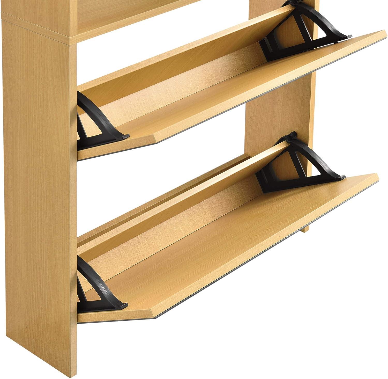 Zapatero con Espejo 67 x 63 x 17cm con 2 Compartimentos de Almacenamiento Mueble Zapatero Organizador de Zapatos Blanco en.casa