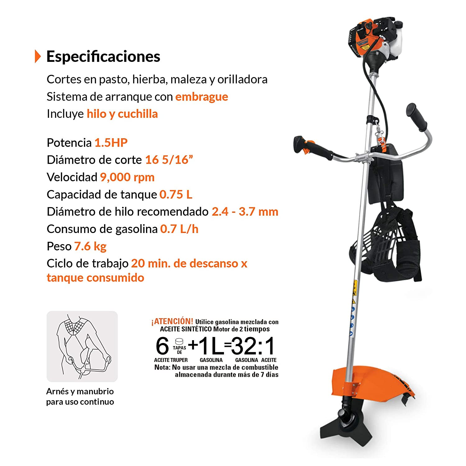 Amazon.com: TRUPER DES-33 Gas-Powered Brushcutter 33cc, Bike ...