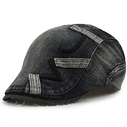 ae28991e8ba30 Image Unavailable. Image not available for. Color  Jamont Men s Summer  Denim Patchwork Flat Visor Newsboy Beret Cap Hat