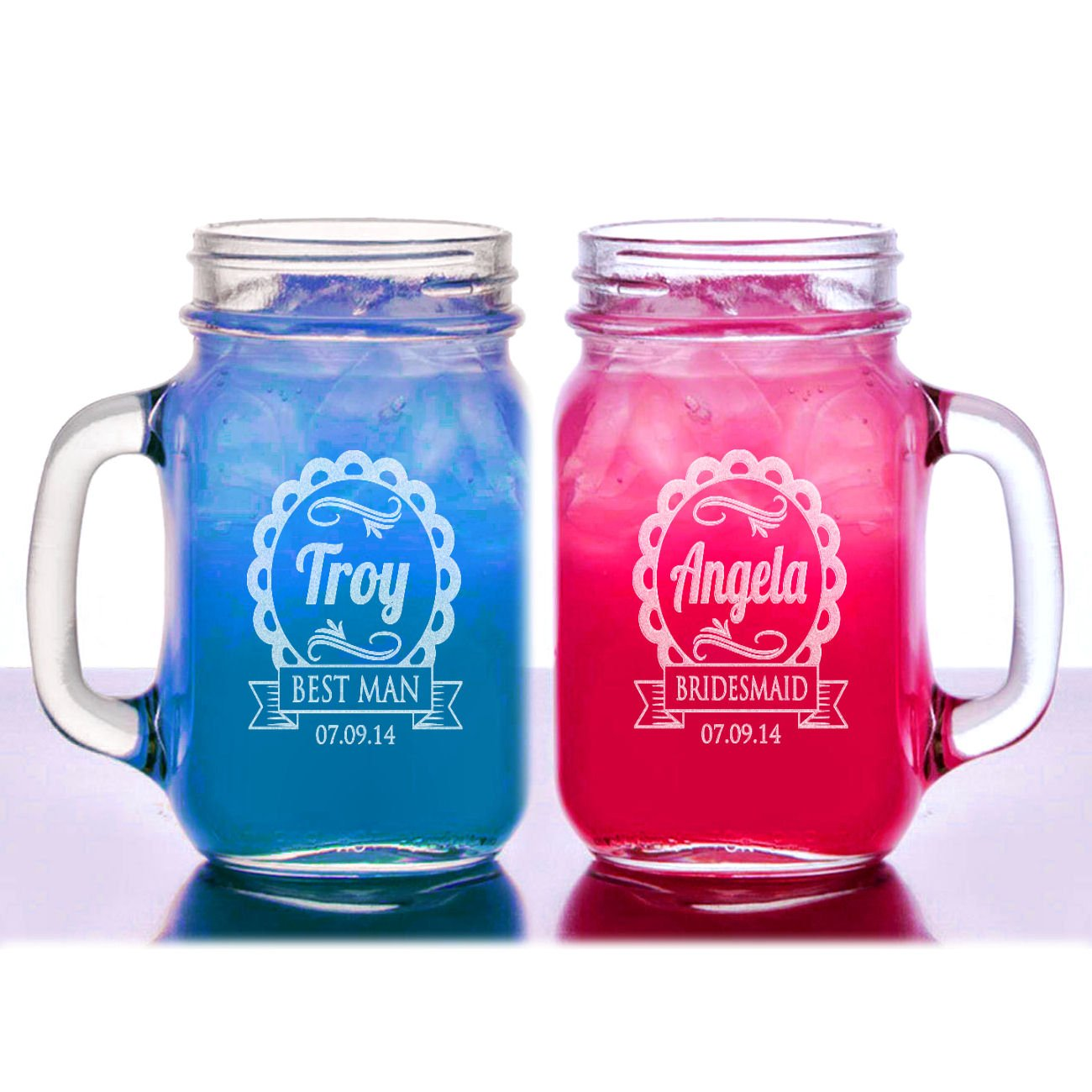 1 Cute Personalized Wedding Mason Jar Bridesmaid Gift Groomsmen Gifts Drinking Mugs with Handle Engraved Custom Etched with Name and Date for Wedding ...  sc 1 st  Amazon.com & Amazon.com | 1 Cute Personalized Wedding Mason Jar Bridesmaid Gift ...