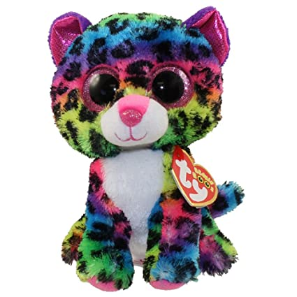 Amazon Com Ty Beanie Boos Dotty The Rainbow Leopard Glitter Eyes