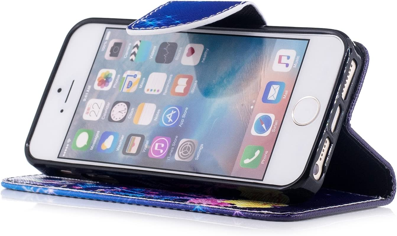 NEXCURIO iPhone 5S 5 SE Wallet Case with Card Holder Folding Kickstand Leather Case Flip Cover for Apple iPhone 5S 5 SE Pattern/#10