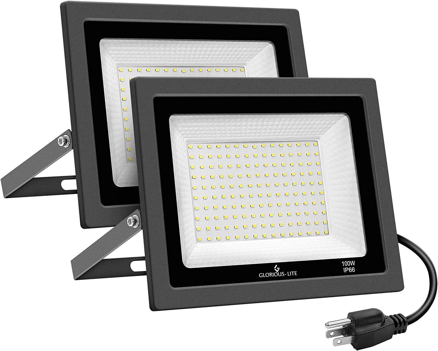 GLORIOUS-LITE 2 Pack 100W LED Flood Light Outdoor, 10000LM Super Bright Work Light with Plug, 5000K Daylight White, IP66 Waterproof Outdoor Floodlights for Yard, Garden, Playground