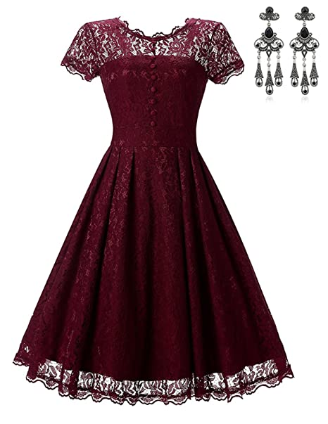 MODETREND Elegante Vestidos de Encaje para Mujeres Floral Lace Perspectiva Redondo Empalme Delgado Vestido para Fiesta