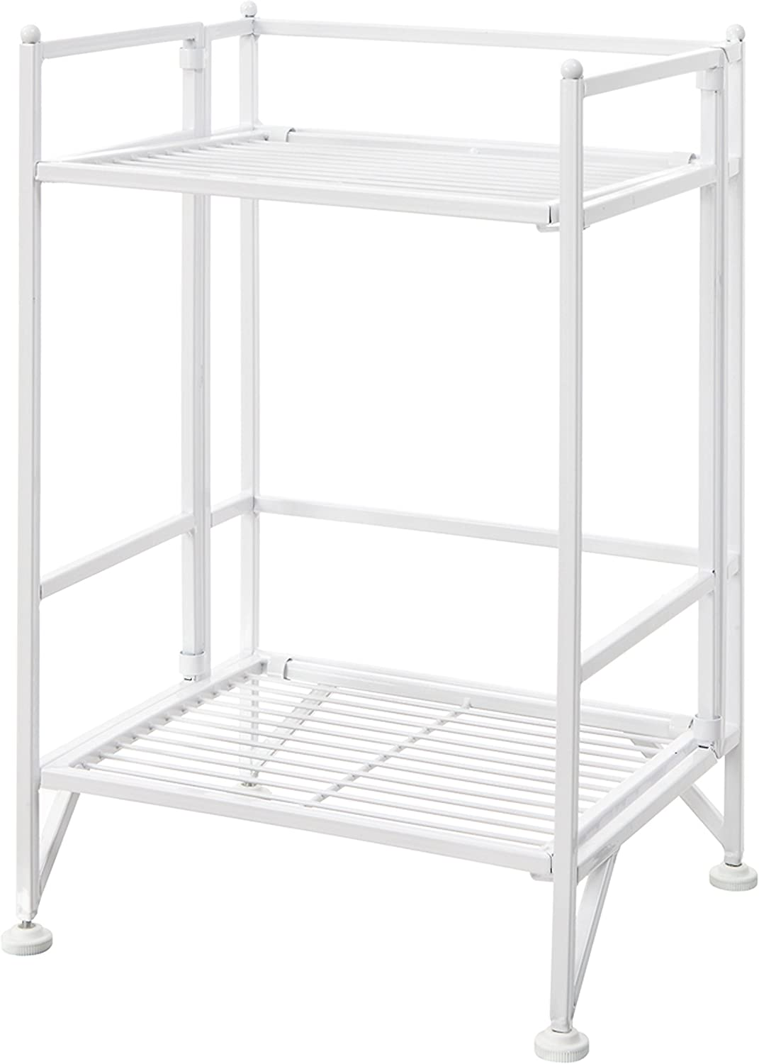Convenience Concepts Xtra Storage 2 Tier Folding Metal Shelf, White