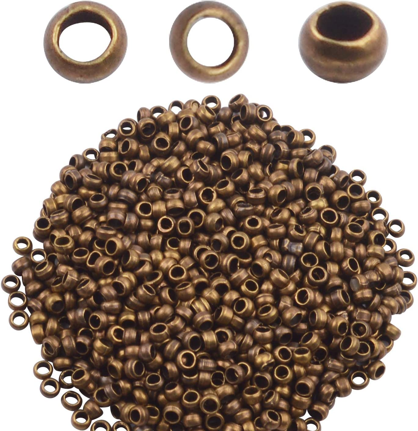 "Lot de 100 Perles à Écraser   /""BRONZE/""  environ Ø 2 mm"