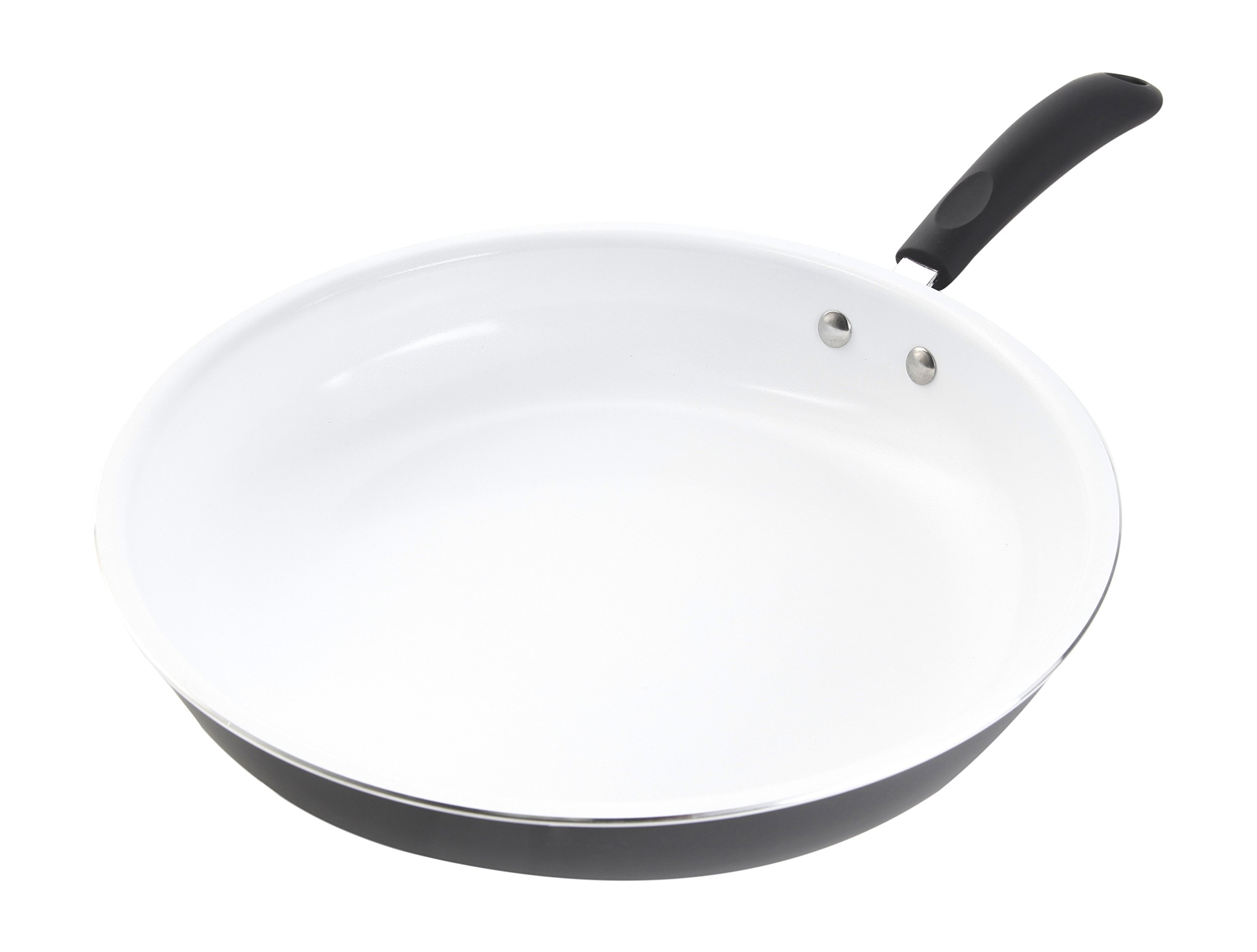 Gibson Home 64584.01 Hummington  12-Inch Ceramic Non-Stick Open Fry Pan, White