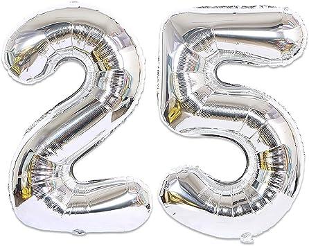 Huture 2 Globos Número 25 Figuras Globo Inflable de Helio Globos Grandes de Aluminio Mylar Globos de Plata Gigantes Número Globos 40 Pulgadas para Fiesta de Cumpleaños decoración graduación XXL 100cm