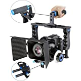 Aluminum Alloy Camera Movie Video Cage Kit Film Making System includes (1) Video Cage+(1) Top Handle Grip+(2)15mm Rod+(1) Matte Box+(1) Follow Focus,for DSLR Camera Such as Canon Nikon Sony Olympus