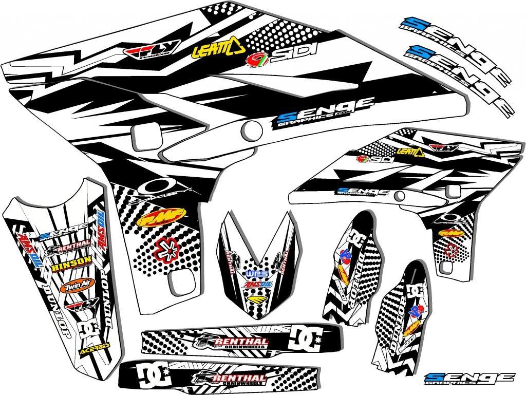 センジグラフィックス2005 – 2017ヤマハTTR 230、Mayhemホワイトグラフィックキット   B01N17CJJD