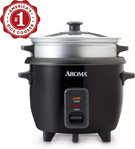 Cooked Pot-Style Rice Cooker and Food Steamer Aroma Housewares 6-Cup