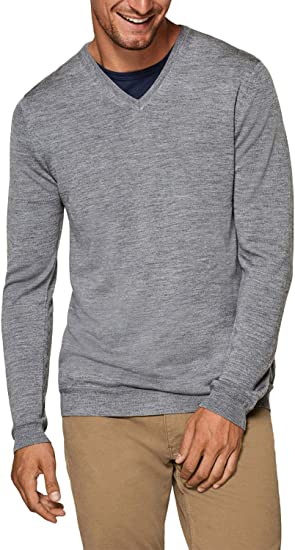 Mens V Neck Jumper Soft Knit Wool Sweater Pullover Casual Long Sleeve Top Size