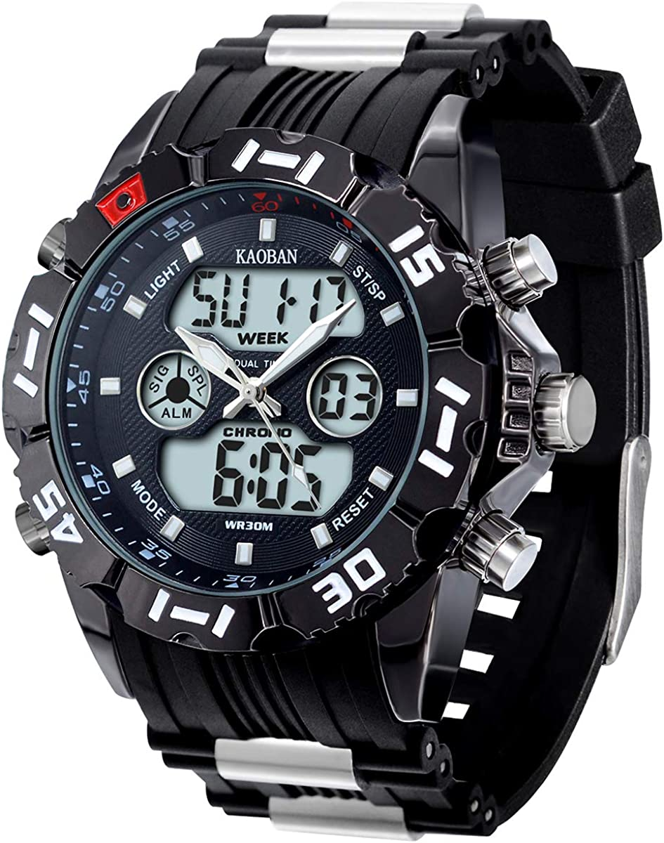 Men's Big Face Military Tactical Watch, Outdoor Sports Wristwatch Resin Band Black