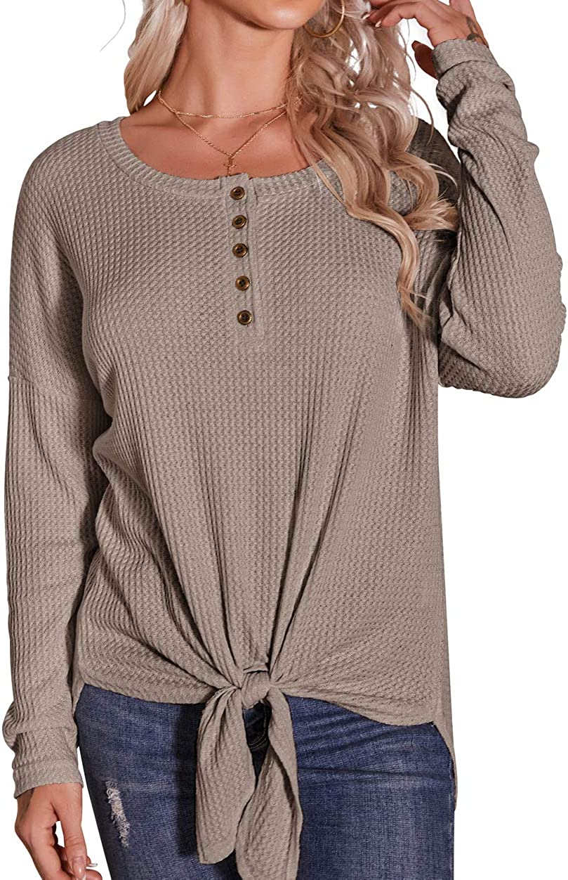 IWOLLENCE Womens Waffle Knit Tunic Button Up Shirts Tie Knot Front Tops Loose Pullover Blouses at  Women's Clothing store