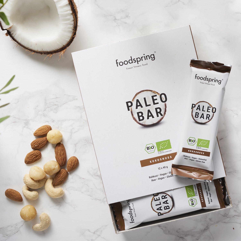 foodspring Orgánica Paleo Bar pack de 12, Coco, Tal y como todas las barritas de frutas deberían ser: Amazon.es: Salud y cuidado personal