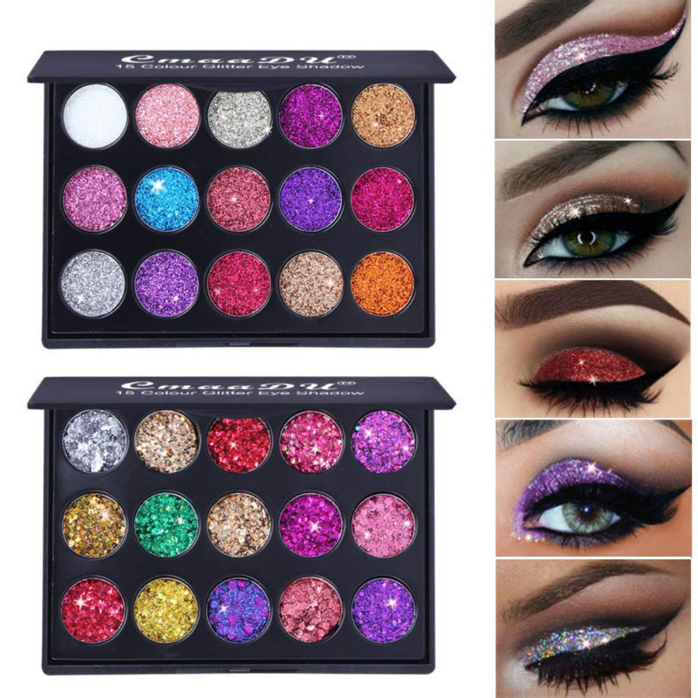 ARTIFUN 15 Colours Eye Shadow Palette Glitter Metallic Shimmer Eyeshadow Diamond Bright Highly Pigmented Cosmetic Eyeshadow for Bold Eye Makeup (#2)
