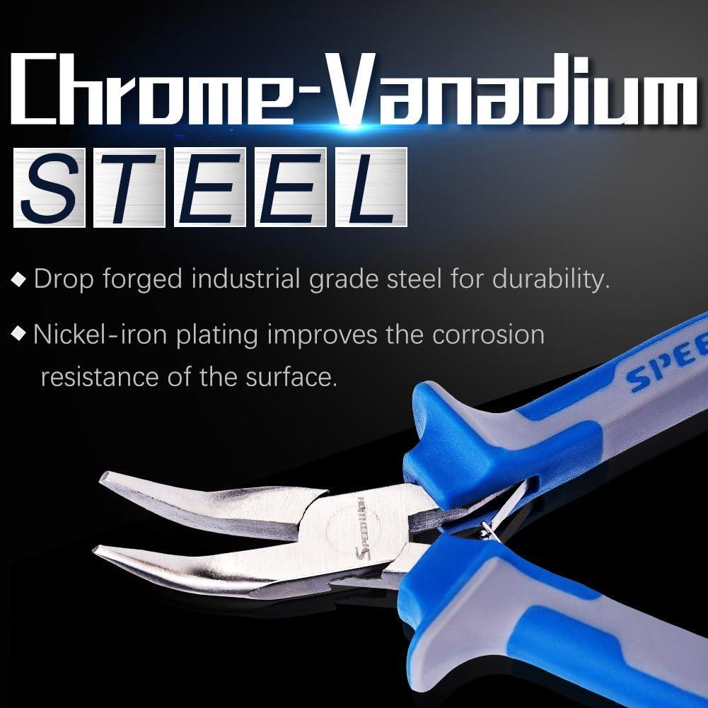Alicates para nariz curvados 5 pulgadas, para bisuter/ía, 45 grados, micro finos, herramienta profesional con resorte de acero cromo vanadio Speewox