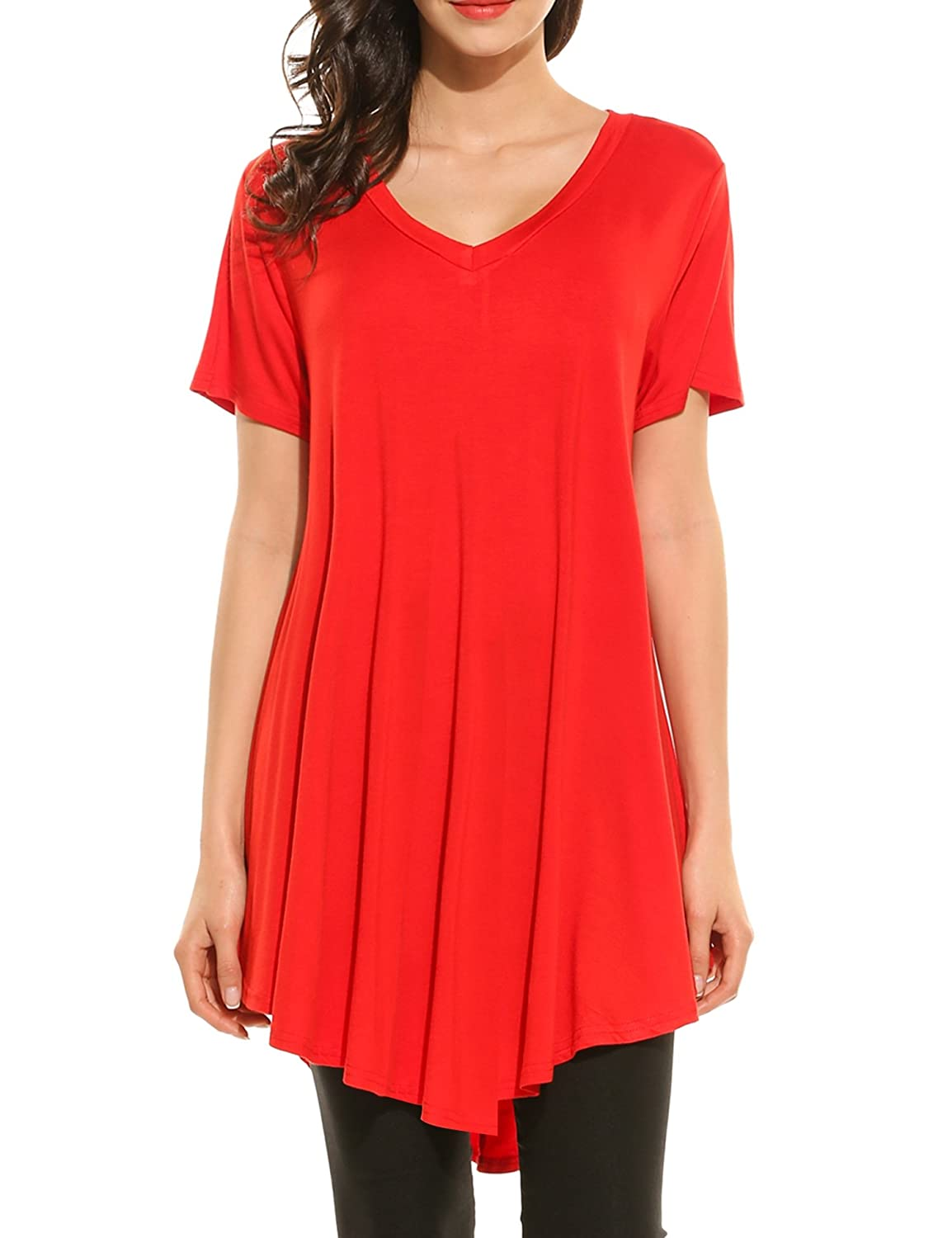 HOTOUCH Women V-Neck Short Sleeve Casual Loose Fit Flare Hem Tunic Tops AHH009580