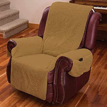 Recliner Chair Cover One Piece W/Armrests And Pockets   One Size Fits Most