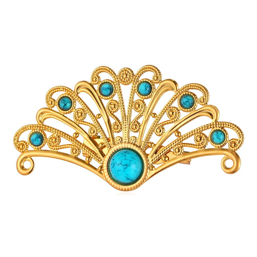 U7 Women 18K Gold Plated Turquoise Chinese Fan Peacock Tial Custom Jewelry Pin Brooch by U7