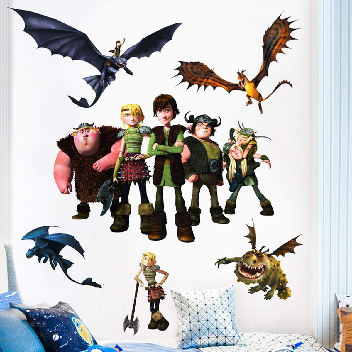 How to Train Your Dragon Sticker Children's Cartoon Bedroom Background Wall Decoration Self-Adhesive Wall Sticker PVC