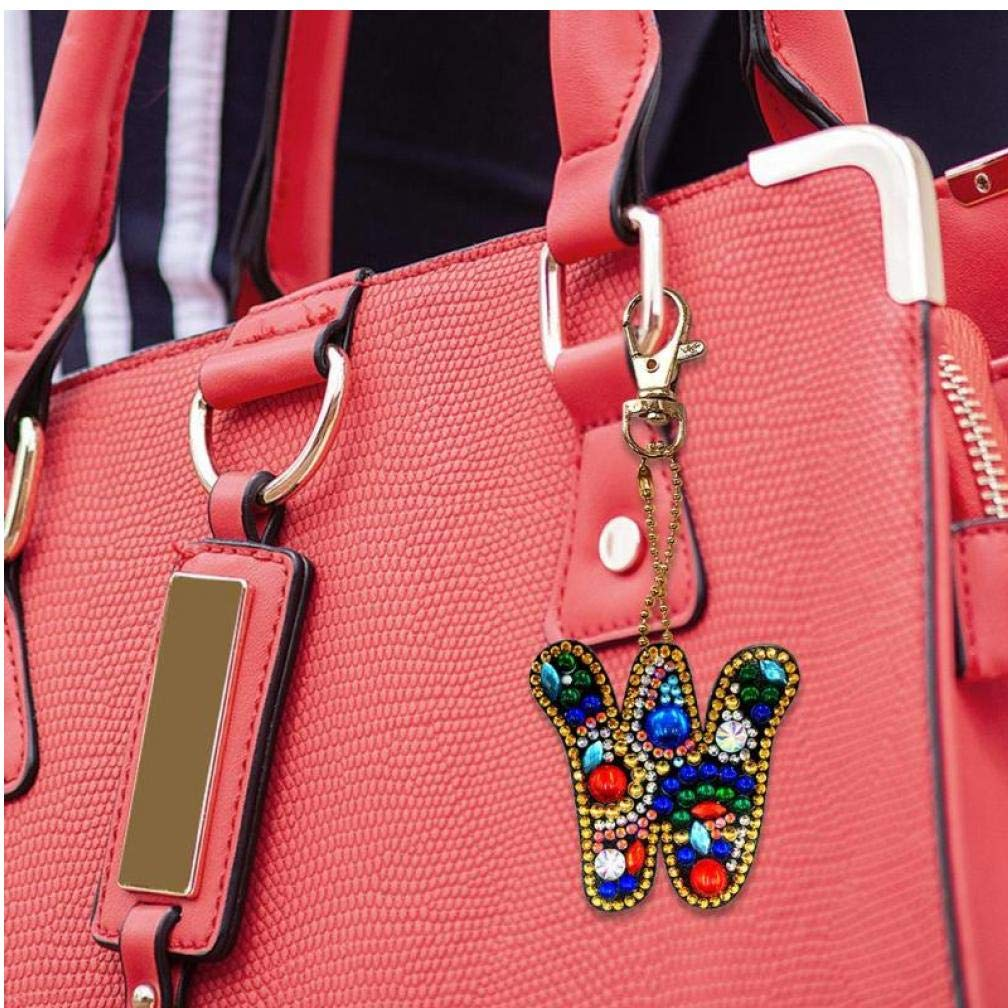 Porte-cl/és Bricolage Peinture Diamant Lettres Femmes Fille Sac Cadeau sp/écial Pendentif Porte-cl/és en Forme de Diamant Ornement