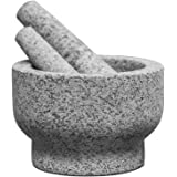 ChefSofi EXTRA Large 8 Inch 5 Cup-Capacity Mortar and Pestle Set - One Huge Mortar and Two Pestels: 8.5 inch and 6.5 inch - U