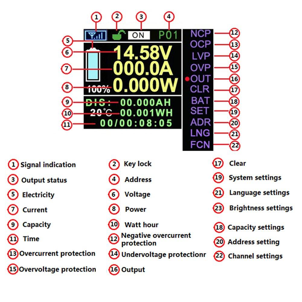 Festnight JUNTEK DC 0.01-100 V 0.1-300A Multifonctionnel Sans Fil Num/érique Bi-directionnel Tension Courant Puissance M/ètre Amp/èrem/ètre Voltm/ètre Capacit/é Coulomb Compteur