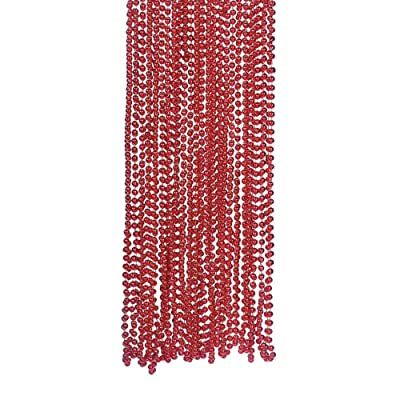 RED METALLIC BEADS NECKLACE 4DZ - Jewelry - 48 Pieces: Toys & Games