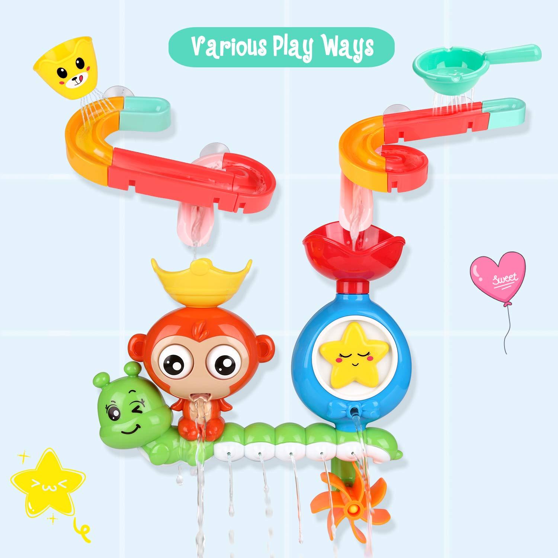 F/ür Kinder Baby ab 18 Monate+ Kinder Wasser Dusche Badewannenspielzeug mit BAU-Puzzle Autorennbahn 14 St/ück Spielzeug BBLIKE Badespielzeug f/ür Babys