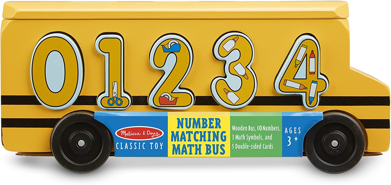Educational Toy With 10 Numbers and 5 Double-Sided Cards 3 Math Symbols Melissa /& Doug Number Matching Math Bus