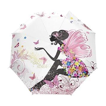 yoshop Auto paraguas, niña con flores mariposas automático resistente al viento lluvia paraguas plegable sombrilla