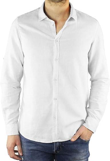 Ciabalù - Camisa de Hombre de Lino Slim Fit, Color Blanco ...