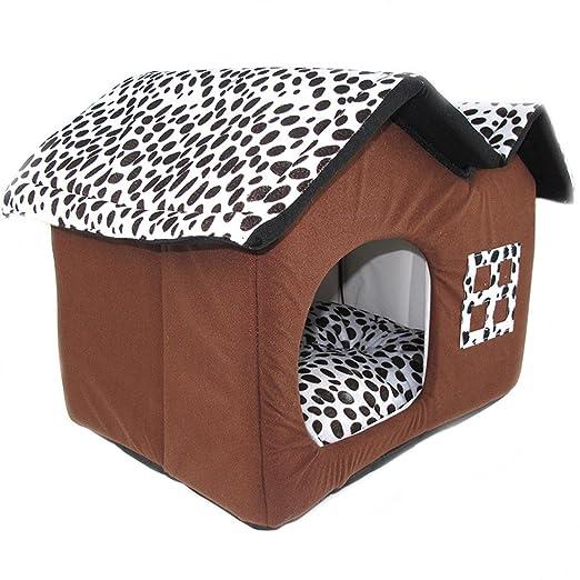 Basico Cama para Perros Habitación Doble Techos Casa para Mascotas Marrón Perro Suave Casa para Mascotas Casa para Mascotas Cachorro para Gatos Casa Forma ...