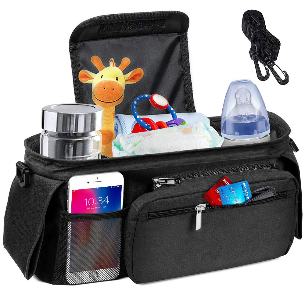 Baby Stroller Organizer Bag - Stroller Storage Bag with 2 XL Waterproof Leak-Proof Insulated Cup Holders and Large Detachable Zippered Clutch Bag for Universal Stroller Like Baby Jogger,Bugaboo by opamoo (Image #1)