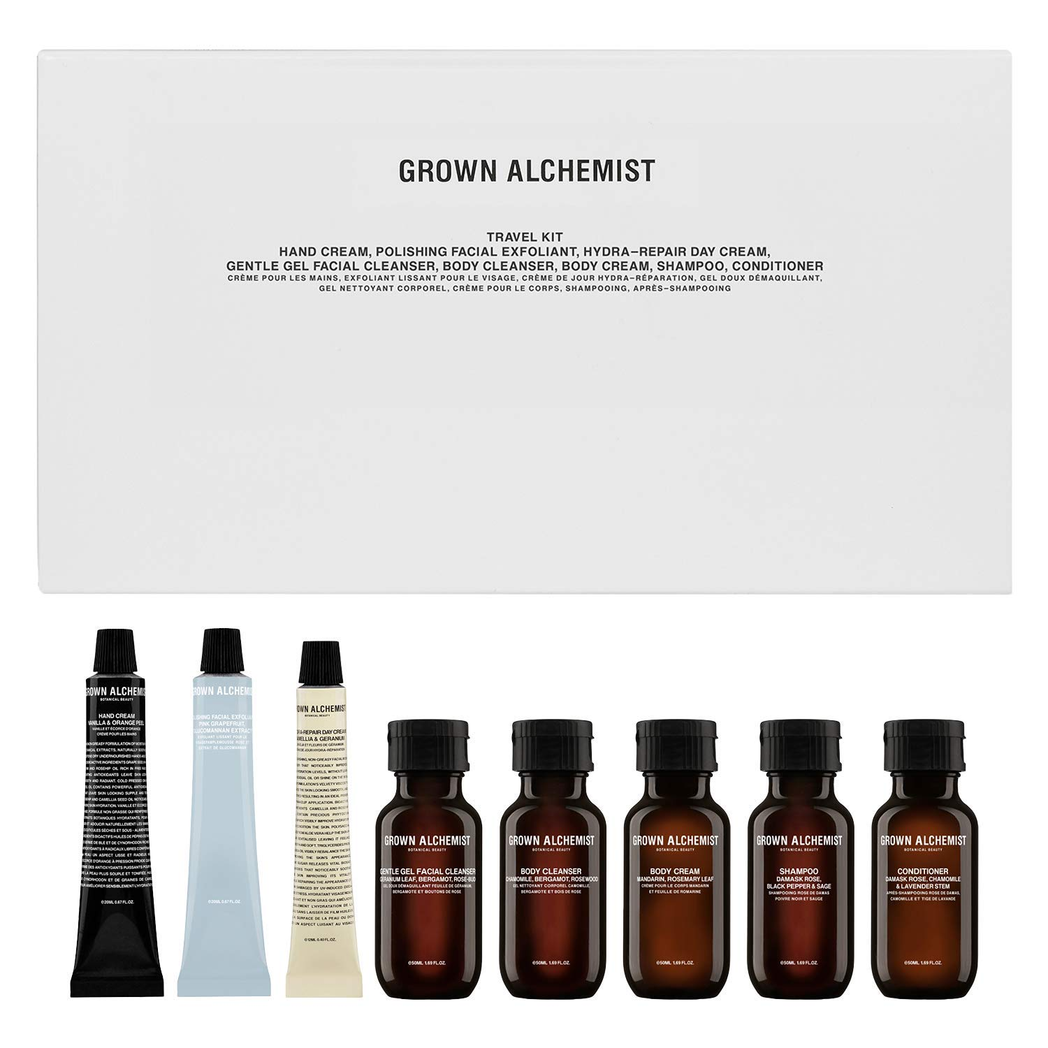 Grown Alchemist Travel Kit - 8 Piece Mini Set for Face, Body & Hair Care - Made with Organic Ingredients