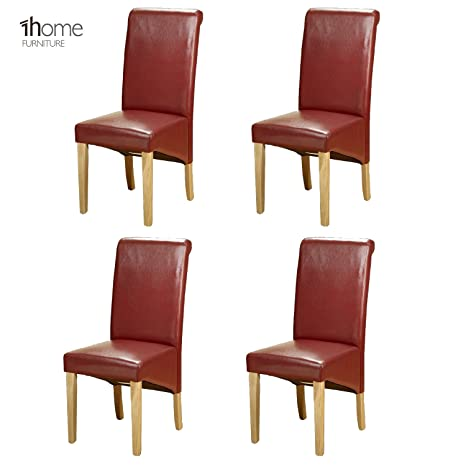 Groovy 1Home Set Of 4 Faux Leather Dining Chairs Roll Top High Back With Solid Wooden Legs Oak Finish For Home Commercial Living Room Bedroom Kitchen Evergreenethics Interior Chair Design Evergreenethicsorg