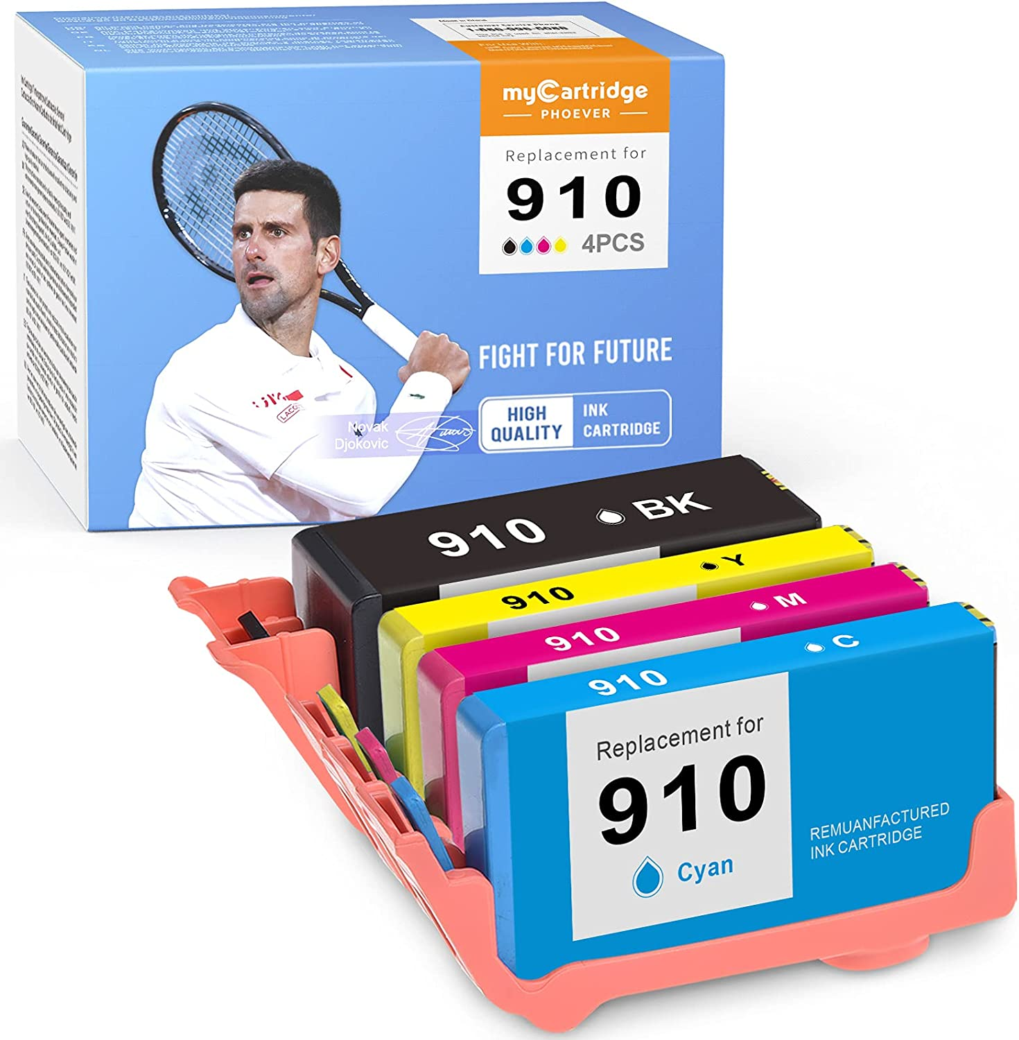 myCartridge PHOEVER Remanufactured Ink Cartridge Replacement for HP 910 910XL for OfficeJet Pro 8022 8020 8025 8028 8035 8035e 8025e 8015 8031 8024 8033 8034 8018 (Black Cyan Magenta Yellow, 4-Pack)