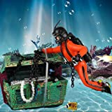 Bestgle Creative Aquarium Ornament Treasure Hunter Diver Action Figure Decoration for Fish Tank