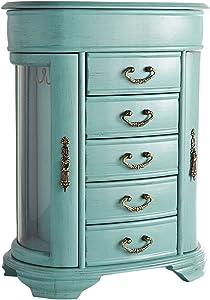 Hives & Honey Daphne Oval Glass Turquoise Jewelry Chest Jewelry Organizer Box Case Mirrored Storage