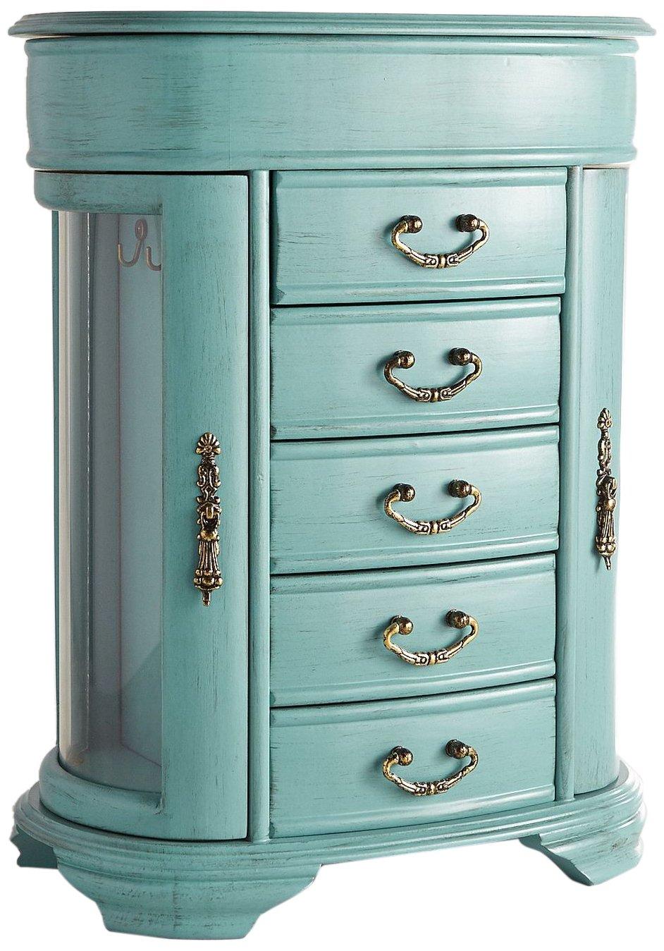 Hives & Honey Daphne Oval Glass Turquoise Jewelry Chest Jewelry Organizer Box Case Mirrored Storage 6006-860