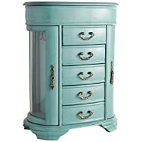 Hives & Honey Daphne Oval Glass Turquoise Jewelry Chest Jewelry Organizer Box Case...